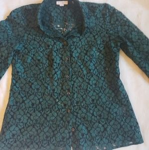 Beautiful Green Charter Club cutout Shirt